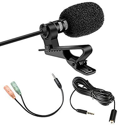 K&F Concept 3.5mm Lavalier Lav Lapel Condenser Omnidirectional Microphone Mic with Clip-on Recording System for Smart Phones GoPro DSLR Video Camera/PC Macbook for Youtube/Interview/Video Conference