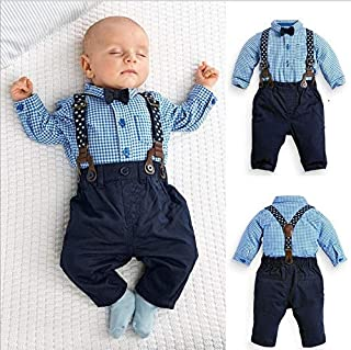 Hylong New Childrens Clothing 2PCS Kids Infant Baby Boys Plaid Shirt+Suspender Pants Overalls Clothes