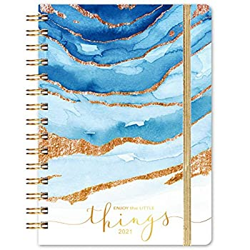 Planner 2021- Weekly & Monthly Planner 8.43  x 6.3  January 2021 - December 2021 Flexible Spiral Hardcover with Strong Golden Binding Elastic Closure Coated Tabs Inner Pocket
