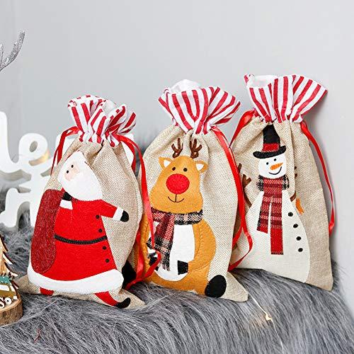 meioro Santa Sacks Leinen Weihnachtstaschen Kordelzug Geschenkbeutel Kinder Geschenkbeutel Süßigkeiten/Lagerung/Geschenke Tasche für Kinder Weihnachtsdekoration (30 x 18 cm, 3pcs)
