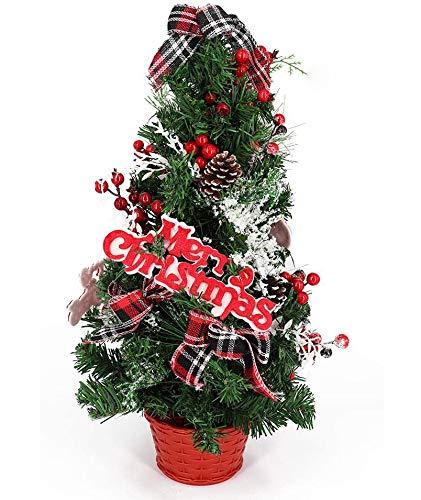 Bibivisa 60cm Árbol de Navidad de Mesa Artificial, Pequeño Abeto con Cono de Pino, Bayas Rojas, Brillo Adornos y Fieltro Merry Christmas en una Canasta, para La Misa del Gallo Decoracion Casa