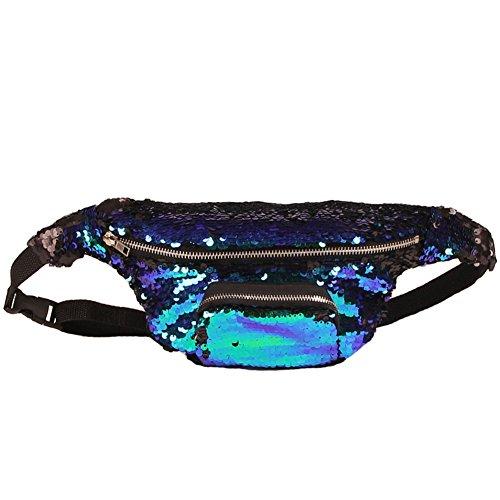 Amorar Glitter Pailletten Tasche Mermaid Hüfttasche Gürteltasche Umhängetasche Doppel Farbe Lagerung Sporttasche Kosmetik Make-Up Bauchtasche Handtasche für Frauen Damen,EINWEG Verpackung