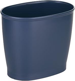iDesign Kent Plastic Oval Wastebasket, Trash Can for Bathroom, Kitchen, Office, Bedroom, 12