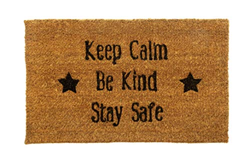"""Alfombrilla de puerta con texto en inglés """"Keep Calm Be Kind"""", respetuosa con el medio ambiente, 100% de plástico natural, fibra de coco, impresión para interiores, 75 x 45 cm, 20 mm de grosor."""