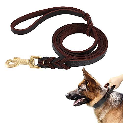 Keyohome Guinzaglio per Cani Lunghezza 3 Metri in Vera Pelle Mano Marrone Intrecciata per Cane Grande o Medio Regolabile di Addestramento (3 m)