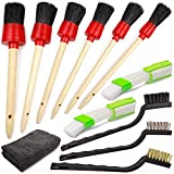 TAKAVU Car Detailing Brush Kit, 6pcs Detailing Brushes, 3pcs Wire Brush, 2pcs Air Conditioner Brush and Microfiber Cloth for Cleaning Wheels, Interior, Exterior, Leather, Motorcycle