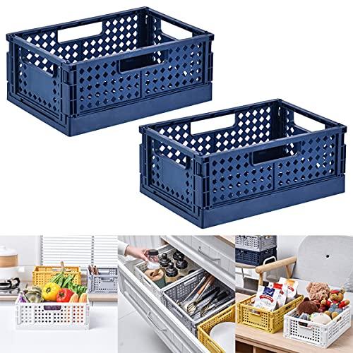 Barrageon 2 Piezas Caja Plegable Organizadora Almacenaje Multiuso Almacenamiento Cesta Comestibles Juguetes Gabinete Contenedor Trastero Apilable Exterior Jardín Cocina Carro Ropa (Azul)