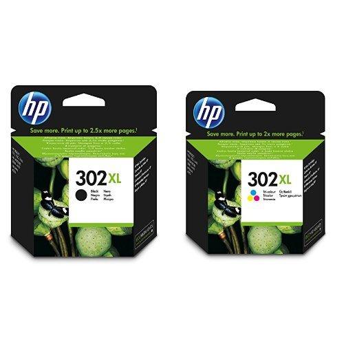 HP 302XL Combo Pack Cartucce Originali Nero e Tricromia per Stampanti HP a Getto di Inchiostro, Compatibili con Stampanti HP DeskJet 1110, 2130, 3630, HP OfficeJet 3830 e 4650, HP ENVY 4520
