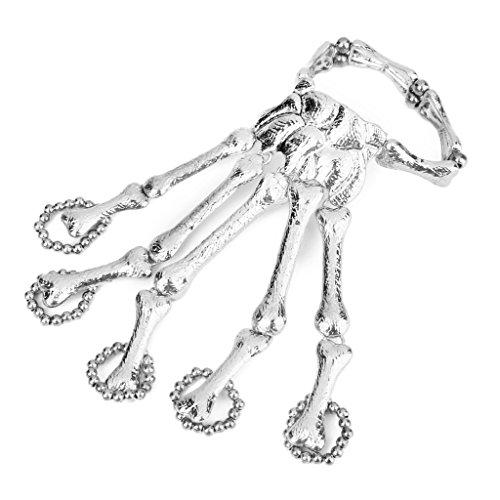 Desconocido Anillo Esclavo Pulsera Esqueleto Punky Esqueleto Dedos Cadena Mano Manera - Plata
