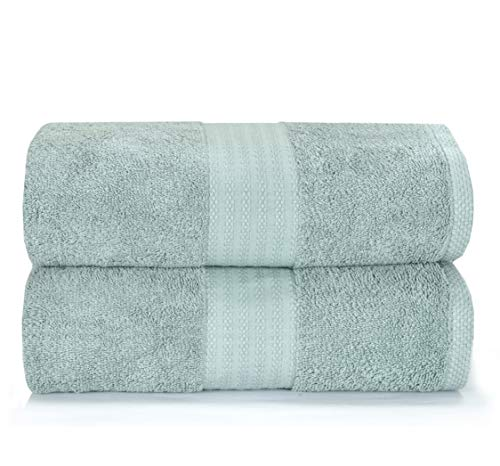 Glamburg Premium Cotton Oversized 2 Pack Bath Sheet 35x70 - 100% Pure Cotton - Ideal for Everyday use - Ultra Soft & Highly Absorbent - Machine Washable - Jade