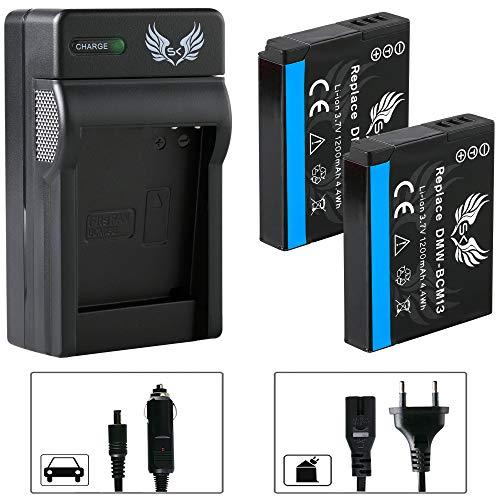 2X SK Akku Panasonic DMW-BCM13 / DMW-BCM13E 1200mAh + Ladegerät Charger für Panasonic Lumix DMC-FT5 TZ40 TZ41 TZ55 TZ58 TZ61 TZ71 ZS30 und weitere