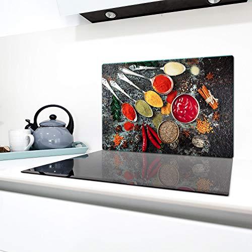 QTA | fornuisafdekplaten 80 x 52 cm keramische afdekking glas spatbescherming afdekplaat glasplaat fornuis afdekking van keramische kookplaten bont specerijen