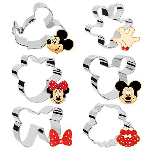 Sinwind 6 Stück Mickey Mouse Ausstecher, Keksausstecher, Ausstechform aus Edelstahl, DIY Fondant Plätzchenausstecher Maus Ausstecher Set für Geburtstag Party Deko