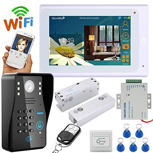 Timbre inteligente de WiFi inalámbrico, portero automático con contraseña RFID, sistema de intercomunicador de timbre con cerradura eléctrica sin marco puerta de vidrio NC + IR-CUT HD1000TVL cámara