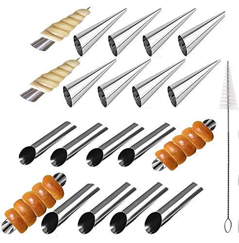 xutong 21 Pz Cannoli Tubi Set, Cannoli Molds Stampi da Forno a Forma di Cono per Croissantcon Crema Glassa Ugello Punta e Spazzola di Pulizia
