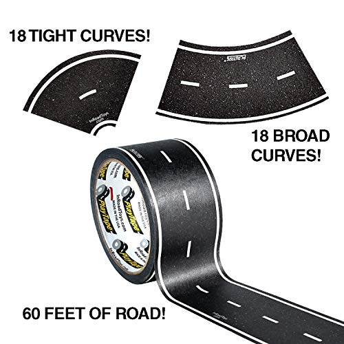 """PlayTape 60' x 2"""" Black Road Starter Pack - Includes 2"""" Street Curves - Tape Toy Car Track For Kids - Sticker Roll for Cars and Train Sets"""