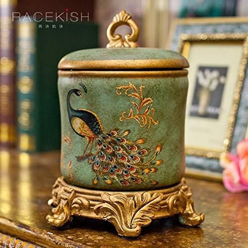LXYZ Amerikanische Stil Schmuckschatulle, Keramik Schmuck Veranstalter Schublade Veranstalter Klassische Möbeldekoration Geschenk für Frauen Waschtisch für Badezimmer Kommode-A 13x22x16cm