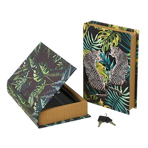 Set de 2 Cajas Libro de caudales de Polipiel y Metal con Jungla Negras - LOLAhome