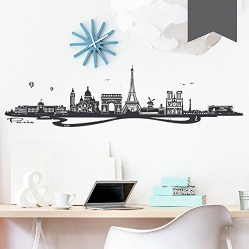 WANDKINGS Wandtattoo Skyline Paris (mit Sehenswürdigkeiten und Wahrzeichen der Stadt) 100 x 26 cm dunkelgrau - erhältlich in 33 Farben