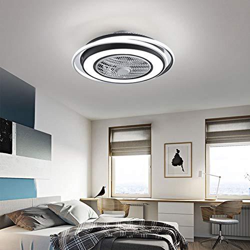 Ventilador de techo creativo de 48 pulgadas, para iluminación exterior con iluminación y mando a distancia, con 2 barras de descenso (12 cm y 25 cm)