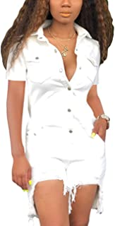 Women's Sexy Jumpsuits Elegant Long Sleeve Long Pants Straight Long Pants Clubwear Denim Rompers with Pockets