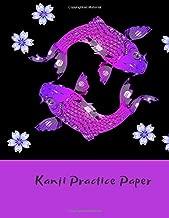 Kanji Practice Paper: Genkouyoushi Japanese Lettering Notebook Workbook Genkoyoshi Hiragana Katakana Yoshi Kana Purple Koi Fish (Japanese Writing)