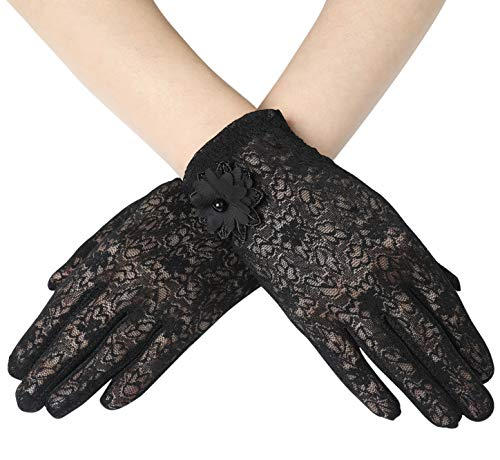 BABEYOND Floral Lace Gloves for Wedding Opera Party 1920s Flapper Lace Gloves Stretchy Adult Size (Black)