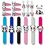 Konsait 18pcs Panda Party Supplies, Panda Hair Clip, Panda Key Chains,Panda Party Slap Bracelets for Kids Birthday Gift Ideas Accessories Panda Party Favors Boys Party Bags Fillers