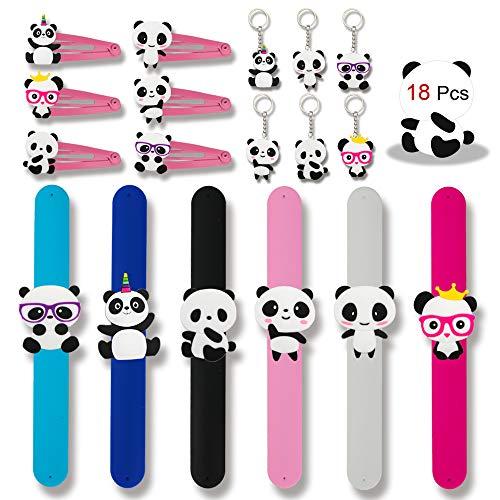 Konsait 18pcs Panda Party Supplies, Panda Hair Clip, Panda Key Chains,Panda Party Slap Bracelets for Kids Birthday Gift Ideas Accessories Panda Party Favors Boys Party Bags Fillers