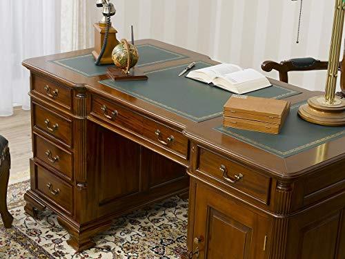 SIMONE GUARRACINO LUXURY DESIGN Partner Schreibtisch Victorian Englischer Stil Büro Doppelschreibtisch 150 cm walnuss Kunstleder grün