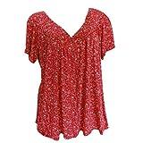 Camiseta de manga corta para mujer, para verano, tallas grandes, vintage, suelta, cuello redondo, básica, elegante, sudadera para adolescentes y niñas rojo XXXL