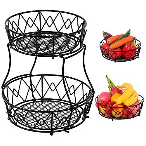 Codream Frutero de metal para frutas, 2 pisos, extraíble, frutero, almacenamiento para frutas, verduras, pan, pasteles, dulces, decoración de frutas, color negro