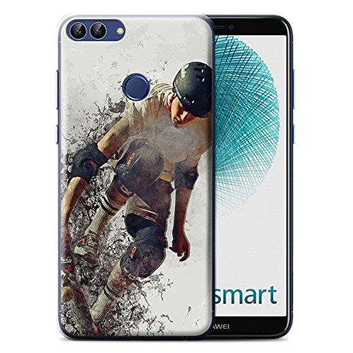 Stuff4 Hülle/Case für Huawei P Smart/Skateboard-Skizze Muster/Fragmenten Kollektion