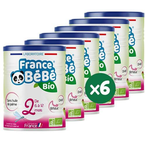 FRANCE BéBé BIO - Lait infantile de suite bébé 2ème âge en poudre - Lait fabriqué en France - 13 Vitamines 12 Minéraux - Pack 6 boîtes de 400g