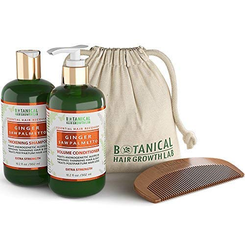 BOTANICAL HAIR GROWTH LAB - Shampoo and Conditioner Gift Set - Ginger Saw Palmetto - Essential Hair Recovery - Anti-Inflammatory / Extra Strength - Hair Loss Prevention Alopecia Postpartum DHT Blocker