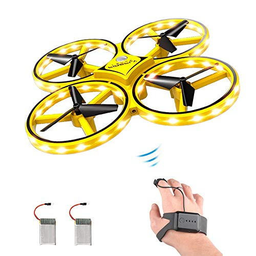 ForBEST Gesture Control Drone Rc Quadcopter Aircraft Hand Sensor Drone with Smart Watch Controlled, 2 Batteries, 360° Flips, Led Light, 3 Modes, USB Cable, Best Gift for Kid