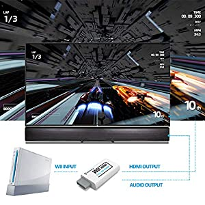 Wii to HDMI Converter with 5ft High Speed HDMI Cable PORTHOLIC Wii2HDMI Adapter Output Video&Audio with 3.5mm Jack Audio, Support All Wii Display Modes 480P,480I,NTSC, Compatible with Full HD Devices