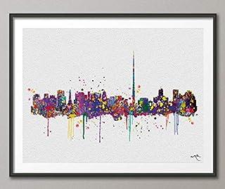 Impresión artística de acuarela de Dublín Skyline Ireland Eire para pared, regalo de boda, decoración de pared, arte de vi...