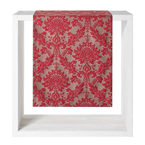 Proflax Tischläufer Velasco l 50x160cm l Weihnachten l Jacquard rot