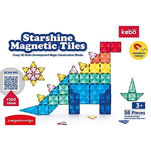 KEBO Starshine Magnetic Tiles Pezzi Magnetici Traslucidi Colori Brillanti Blocchi Costruzioni per Bambini Ideali per Tavolini Luce (58 pezzi)
