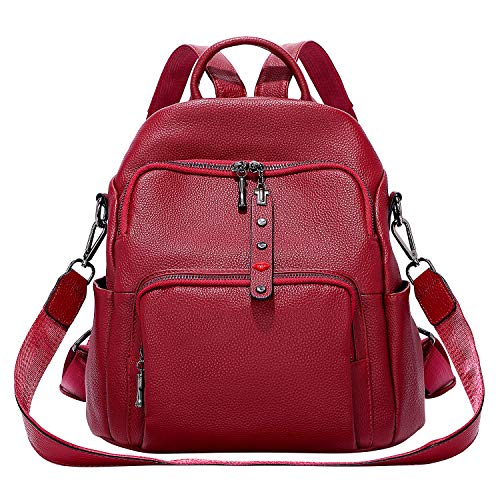 OVER EARTH Women Soft Leather Antitheft Backpack Convertible Rucksack Ladies Shoulder Bag Red Size: Medium