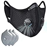 Dust mask with Filter,Sports Face Mask, 3 Filters and 2 Valves Included,Replaceable Filters and Washable Masks for Running, Cycling, Skiing Motorbikes, Outdoor Activities(Black with Logo)