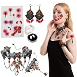 JOYIN 8 Pcs Gothic Vampire Costume Accessories Set with Vampire Fangs Teeth (Adhesive Included), Earrings, Gothic Necklace Choker, Bracelets and Tattoo Scar for Zombie Vampire Dress-up