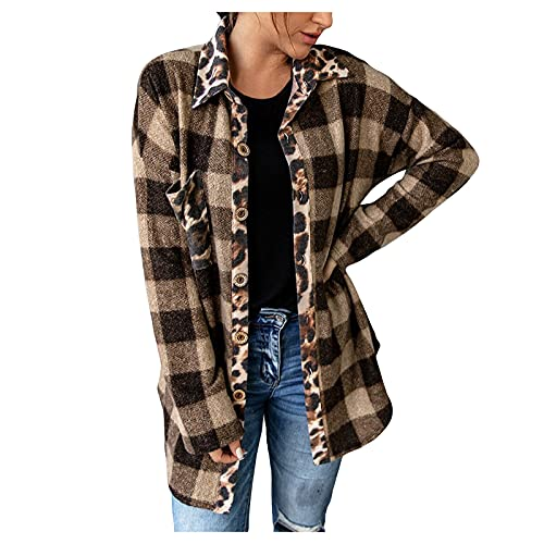 Lapel Leopard Fall Shirts Women Mid-Length Patchwork Polo Shirts Long Sleeve Girls Tops Brown