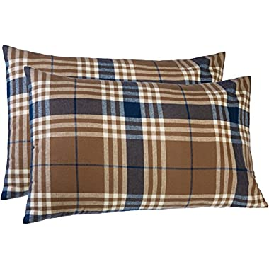 Pinzon 160 Gram Plaid Flannel Pillowcases – King, Brown Plaid