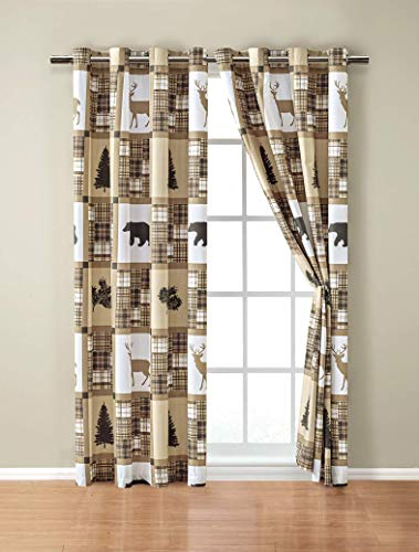 Rustic Modern Farmhouse Cabin Lodge Window Treatment Grommet Curtain Set with Patchwork of Wildlife Grizzly Bears Deer Buck and Plaid Check Patterns in Taupe Brown - Curtain Set