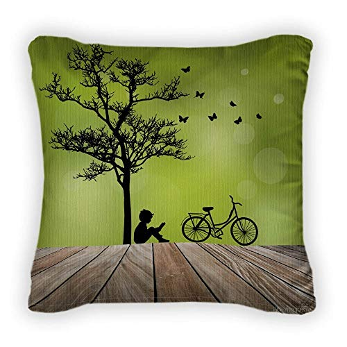Clothing decoration Couch Pillows Tree, Bike, Little Boy, 18 X 18 inch