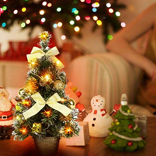 weiwei 40CM Tall Battery Operated Luxury Table top Christmas Tree Hanging Decorations Pine (Battery not Included) Wide Range and Gift for Girls.
