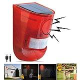 Solar Sound & Light Alarm Motion Sensor 110 Decibels Siren Sound Alert & 6LEDs Flash Warning Strobe Security Alarm System for Farm Villa