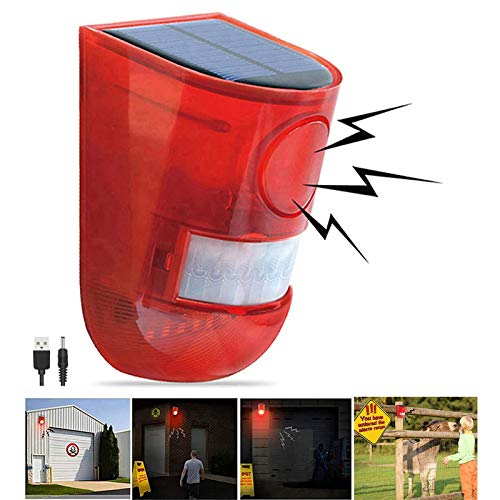 Solar Sound & Light Alarm Motion Sensor 110 Decibels Siren Sound Alert & 6LEDs Flash Warning Strobe Security Alarm System for Farm Villa